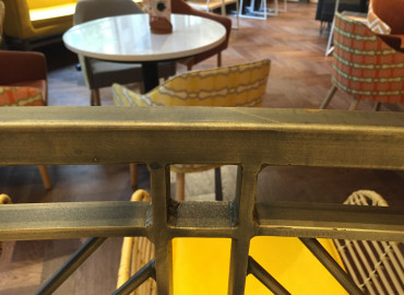 Alhena Antique Brass to mild steel welded frames @ Nandos Clarence Street Sydney