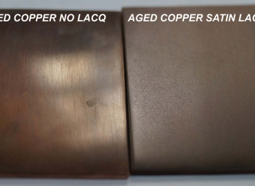 Aged Copper with and without lacquer
