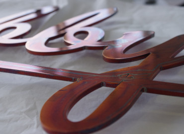 Bootis Natural - Aged Copper Oiled to to aluminium laser cut lettering