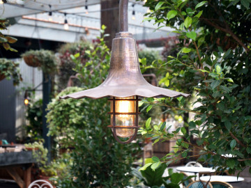 Bootis Natural - Aged Copper OIled to to aluminum light fittings @ The Potting Shed