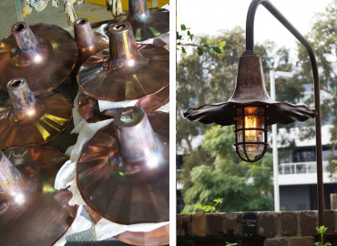 Bootis Natural - Aged Copper Oiled to to aluminium light fittings @ The Potting Shed