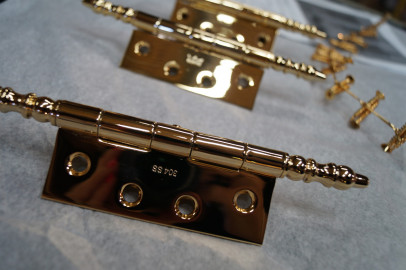 Polished and gold plated hinges