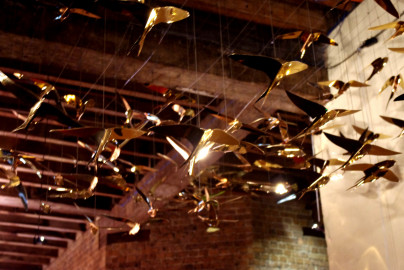 Gold plated stainless laser cut birds for Vivid 2013
