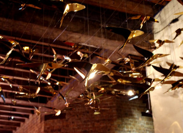 Pavonis Gold plated stainless laser cut birds for Vivid 2013