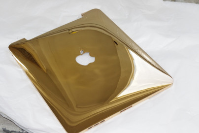 Gold plated (Pavonis) to aluminium ipad cover