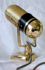 John Laws gold plated microphone