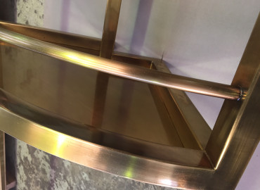 Brushed Brass (before patina process) for stainless welded frame