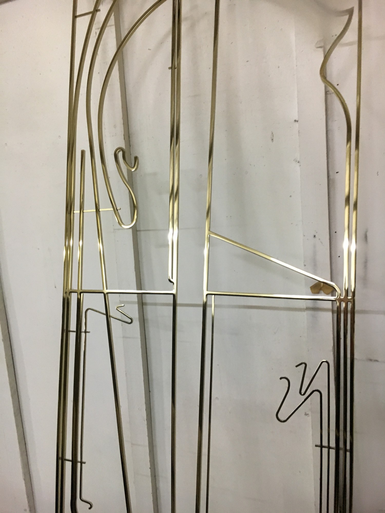 Mirror polished & brass plated mild steel custom Art Nouveau screens