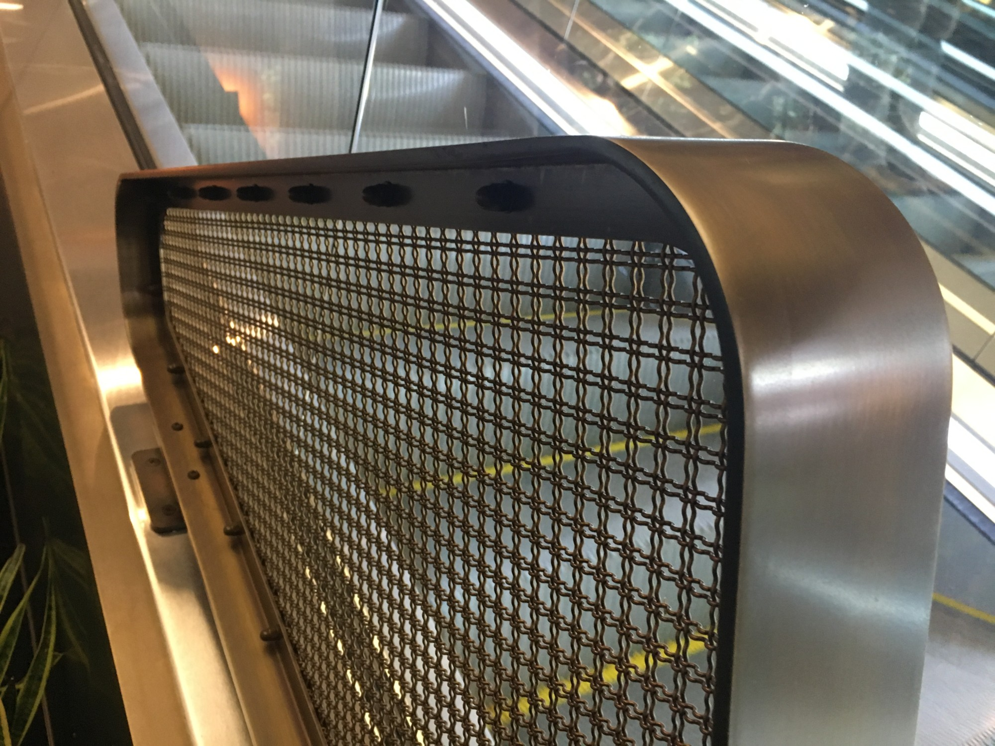 Aluminium mesh welded to aluminium flat bar frames for safety screens at Chifley Plaza
